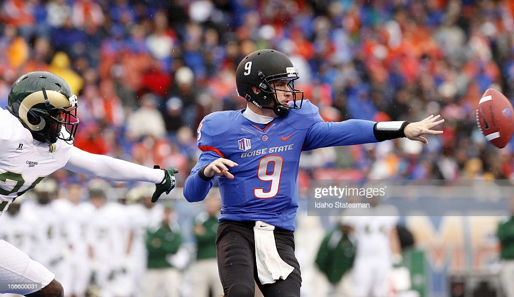 Boise State's Grant Hedrick (9) pitches the ball on an option play against Colorado State at Bronco Stadium in Boise, Idaho, on Saturday, November 17, 2012.