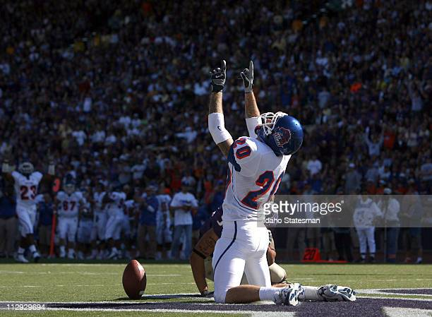 Boise State's safety Marty Tadman celebrates intercepting a pass in the second half against the University of Washington Washington defeated Boise...