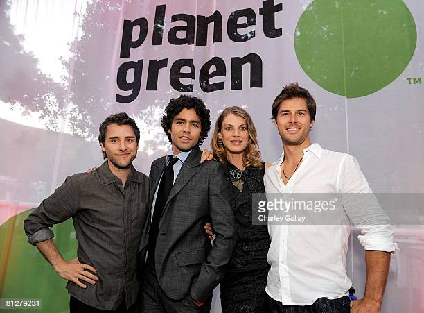 Boise Thomas Adrian Grenier model Angela Lindvall and Darren Moore from the series Alter Eco pose during the Planet Green premiere event and concert...