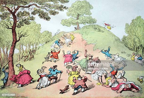 Boisterous party amusement of the people on a hill in greenwich park london england copper engraving by thomas rowlandson 1811