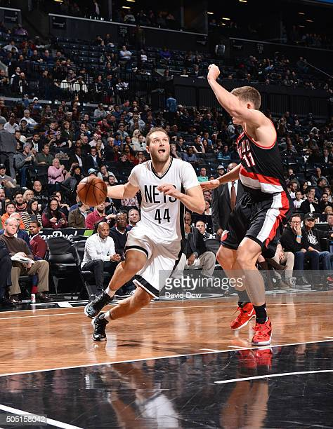 Bojan Bogdanovic of the Brooklyn Nets drives to the basket against the Portland Trail Blazers on January 15 2015 at Barclays Center in Brooklyn New...
