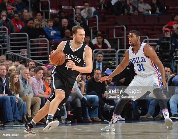 Bojan Bogdanovic of the Brooklyn Nets drives to the basket against the Philadelphia 76ers at Wells Fargo Center on February 6 2016 in Philadelphia...