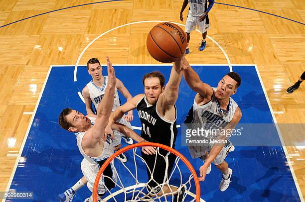 Bojan Bogdanovic of the Brooklyn Nets dunks against the Orlando Magic during the game on December 30 2015 at Amway Center in Orlando Florida NOTE TO...