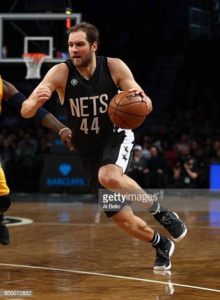 Bojan Bogdanovic of the Brooklyn Nets in action against the Indiana Pacers during their game at the Barclays Center on October 28 2016 in New York...