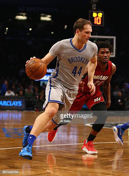 Bojan Bogdanovic of the Brooklyn Nets in action against the Miami Heat during their game at the Barclays Center on January 26 2016 in New York City...