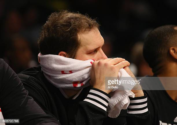 Bojan Bogdanovic of the Brooklyn Nets looks on in the final seconds of their 9174 loss against the Toronto Raptors during their game at the Barclays...
