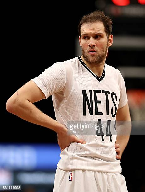 Bojan Bogdanovic of the Brooklyn Nets reacts to the loss to the Cleveland Cavaliers at the Barclays Center on January 6 2017 in the Brooklyn borough...