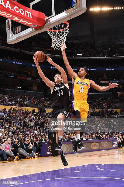 Bojan Bogdanovic of the Brooklyn Nets shoots the ball against the Los Angeles Lakers on March 1 2016 at STAPLES Center in Los Angeles California NOTE...