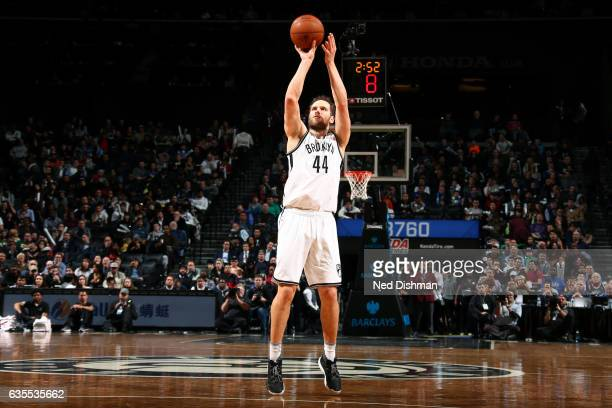 Bojan Bogdanovic of the Brooklyn Nets shoots the ball during the game against the Milwaukee Bucks on February 15 2017 at Barclays Center in Brooklyn...