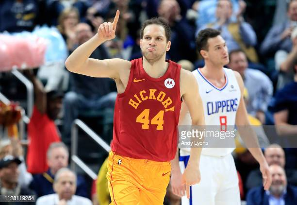 Bojan Bogdanovic of the Indiana Pacers celebrates after making a shot against the Los Angeles Clippers at Bankers Life Fieldhouse on February 07 2019...