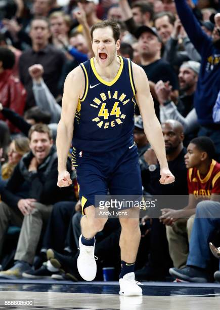 Bojan Bogdanovic of the Indiana Pacers celebrates after making a shot against the Cleveland Cavaliers at Bankers Life Fieldhouse on December 8 2017...