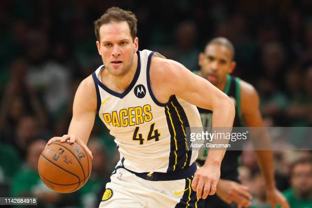 Bojan Bogdanovic of the Indiana Pacers dribbles downcourt during Game One of the first round of the 2019 NBA Eastern Conference Playoffs against the...