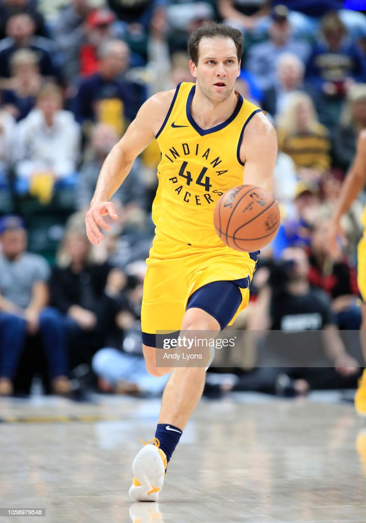 Bojan Bogdanovic of the Indiana Pacers dribbles the ball