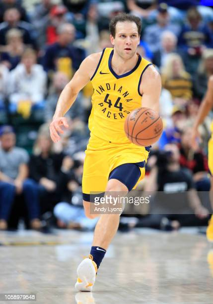 Bojan Bogdanovic of the Indiana Pacers dribbles the ball against the Philadelphia 76ers at Bankers Life Fieldhouse on November 7 2018 in Indianapolis...