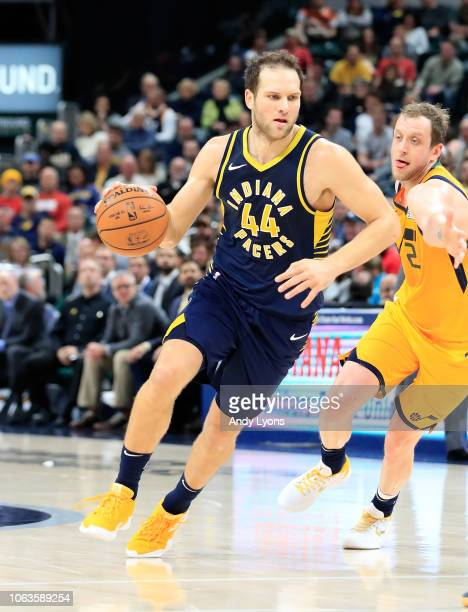 Bojan Bogdanovic of the Indiana Pacers dribbles the ball against the Utah Jazz at Bankers Life Fieldhouse on November 19 2018 in Indianapolis Indiana...