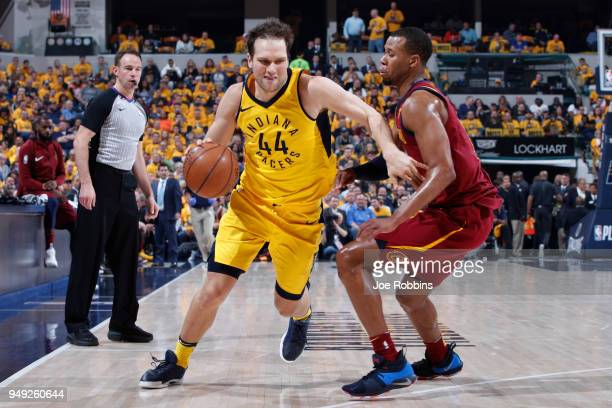 Bojan Bogdanovic of the Indiana Pacers drives against Rodney Hood of the Cleveland Cavaliers in the first half of game three of the NBA Playoffs at...