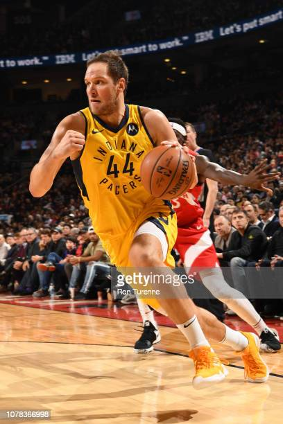 Bojan Bogdanovic of the Indiana Pacers drives to the basket against the Toronto Raptors on January 6 2019 at the Scotiabank Arena in Toronto Ontario...