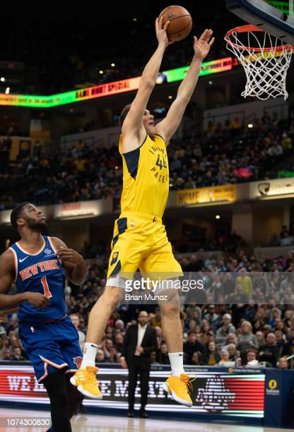 Bojan Bogdanovic of the Indiana Pacers goes for a basket during the second half of the game against the New York Knicks at Bankers Life Fieldhouse on...