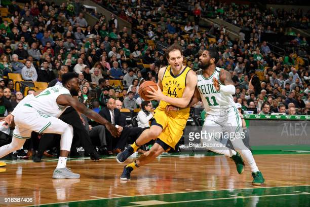 Bojan Bogdanovic of the Indiana Pacers handles the ball against Kyrie Irving of the Boston Celtics on February 9 2018 at the TD Garden in Boston...