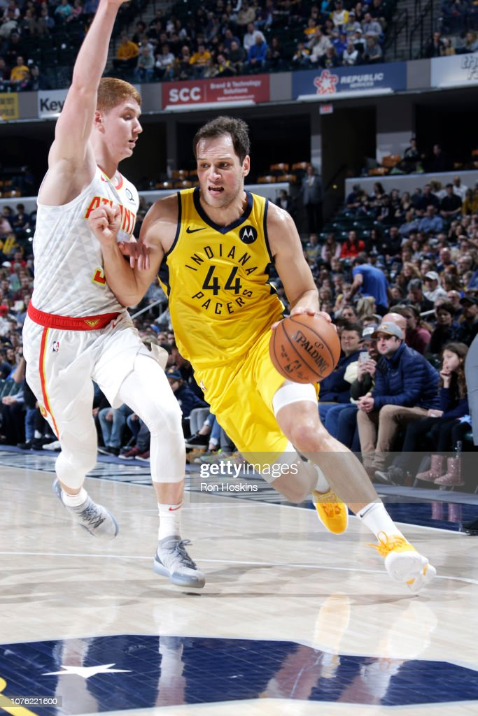 Bojan Bogdanovic of the Indiana Pacers handles the ball
