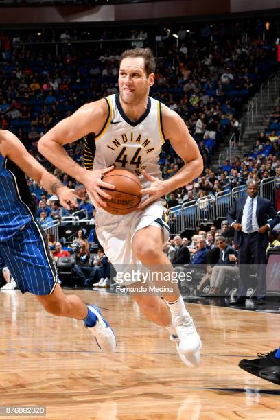Bojan Bogdanovic of the Indiana Pacers handles the ball against the Orlando Magic on November 20 2017 at Amway Center in Orlando Florida NOTE TO USER...