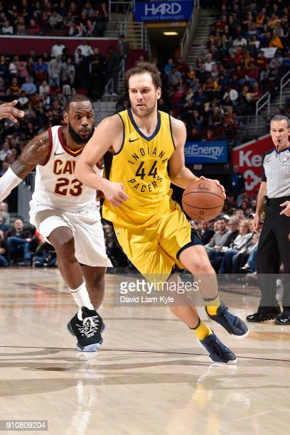 Bojan Bogdanovic of the Indiana Pacers handles the ball against the Cleveland Cavaliers on January 26 2018 at Quicken Loans Arena in Cleveland Ohio...