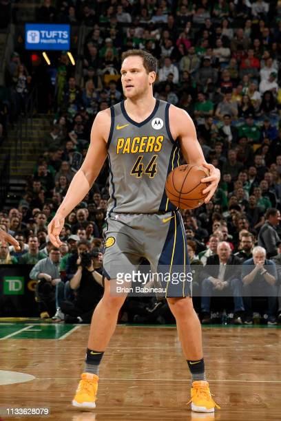 Bojan Bogdanovic of the Indiana Pacers handles the ball during the game against the Boston Celtics on March 29 2019 at the TD Garden in Boston...