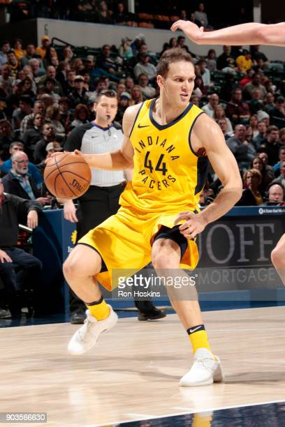 Bojan Bogdanovic of the Indiana Pacers handles the ball during the game against the Miami Heat on January 10 2018 at Bankers Life Fieldhouse in...