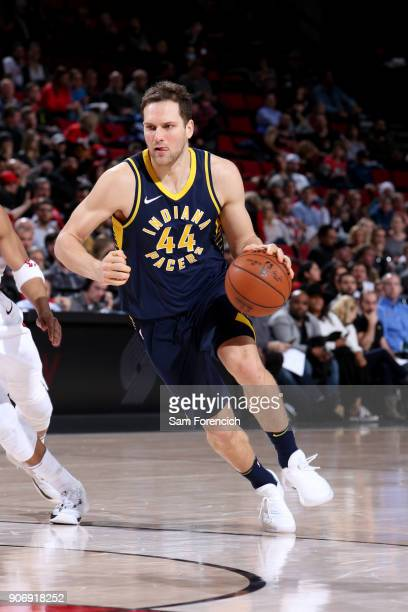 Bojan Bogdanovic of the Indiana Pacers handles the ball during the game against the Portland Trail Blazers on January 18 2018 at the Moda Center in...