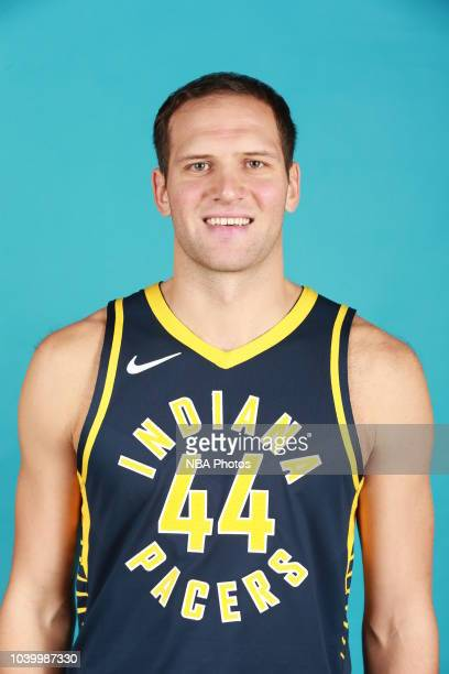 Bojan Bogdanovic of the Indiana Pacers poses for a head shot during the Indiana Pacers Media Day on September 24 2018 in Indianapolis Indiana NOTE TO...