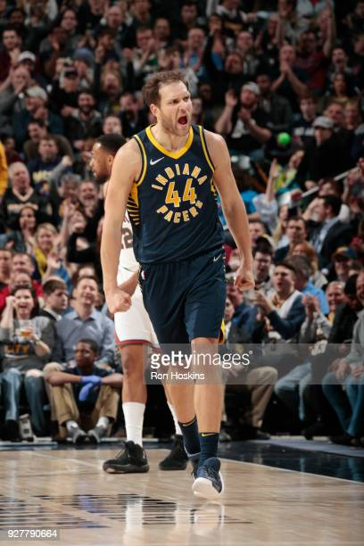 Bojan Bogdanovic of the Indiana Pacers reacts during the game against the Milwaukee Bucks on March 5 2018 at Bankers Life Fieldhouse in Indianapolis...