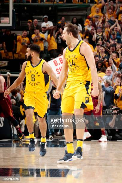 Bojan Bogdanovic of the Indiana Pacers reacts in Game Three of Round One of the 2018 NBA Playoffs against the Cleveland Cavaliers on April 20 2018 at...