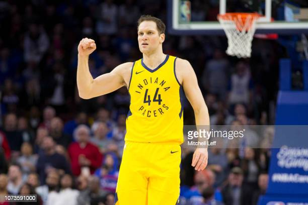 Bojan Bogdanovic of the Indiana Pacers reacts in the fourth quarter against the Philadelphia 76ers at the Wells Fargo Center on December 14 2018 in...