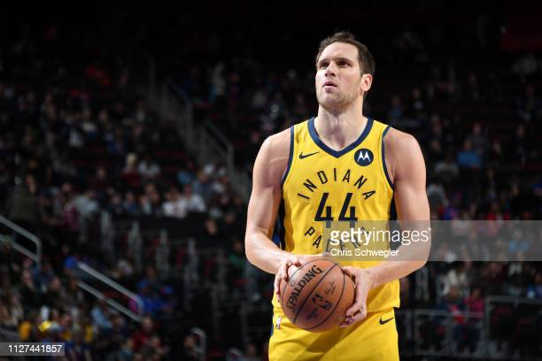 Bojan Bogdanovic of the Indiana Pacers shoots a free throw during the game against the Detroit Pistons on February 25 2019 at Little Caesars Arena in...
