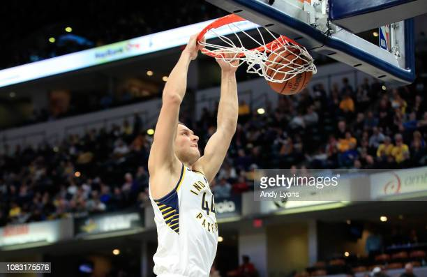Bojan Bogdanovic of the Indiana Pacers shoots the ball against the Phoenix Suns at Bankers Life Fieldhouse on January 15 2019 in Indianapolis Indiana...