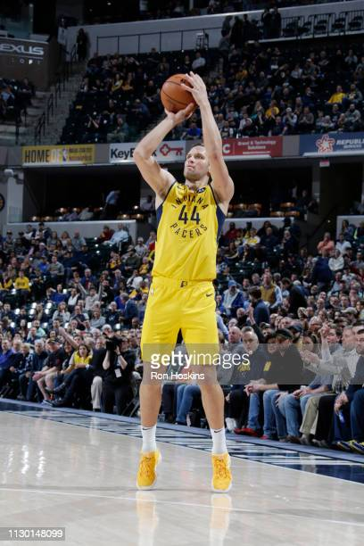 Bojan Bogdanovic of the Indiana Pacers shoots the ball against the New York Knicks on March 12 2019 at Bankers Life Fieldhouse in Indianapolis...