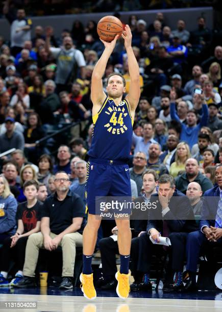 Bojan Bogdanovic of the Indiana Pacers shoots the ball against the New Orleans Pelicans at Bankers Life Fieldhouse on February 22 2019 in...