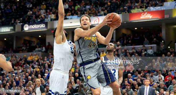 Bojan Bogdanovic of the Indiana Pacers shoots the ball against the Minnesota Timberwolves at Bankers Life Fieldhouse on February 28 2019 in...