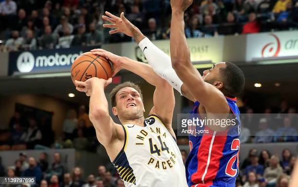 Bojan Bogdanovic of the Indiana Pacers shoots the ball against the Detroit Pistons at Bankers Life Fieldhouse on April 01 2019 in Indianapolis...