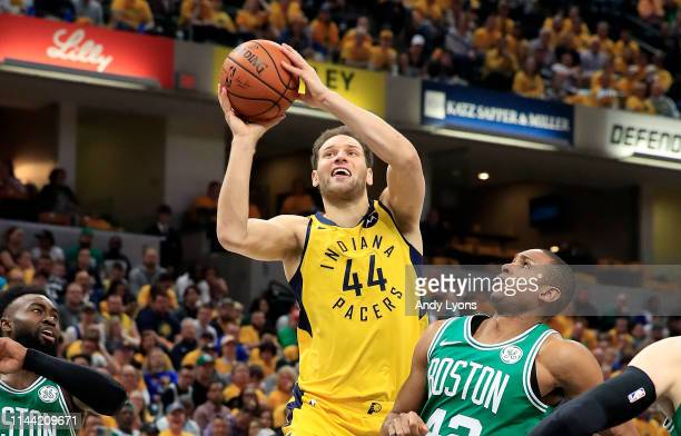 Bojan Bogdanovic of the Indiana Pacers shoots the ball against the Boston Celtics in game four of the first round of the 2019 NBA Playoffs at Bankers...