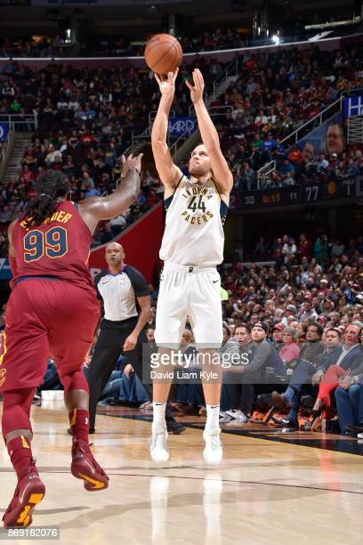 Bojan Bogdanovic of the Indiana Pacers shoots the ball against the Cleveland Cavaliers on November 1 2017 at Quicken Loans Arena in Cleveland Ohio...