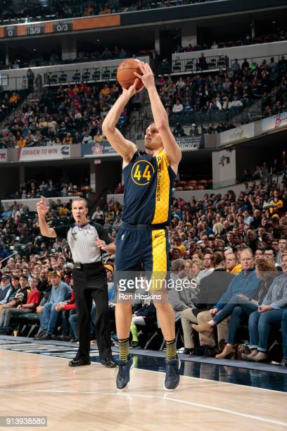Bojan Bogdanovic of the Indiana Pacers shoots the ball against the Philadelphia 76ers on February 3 2018 at Bankers Life Fieldhouse in Indianapolis...