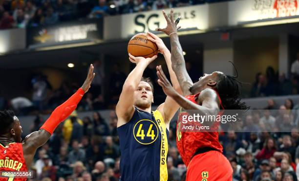 Bojan Bogdanovic of the Indiana Pacers shoots the ball against the Atlanta Hawks during the game at Bankers Life Fieldhouse on February 23 2018 in...