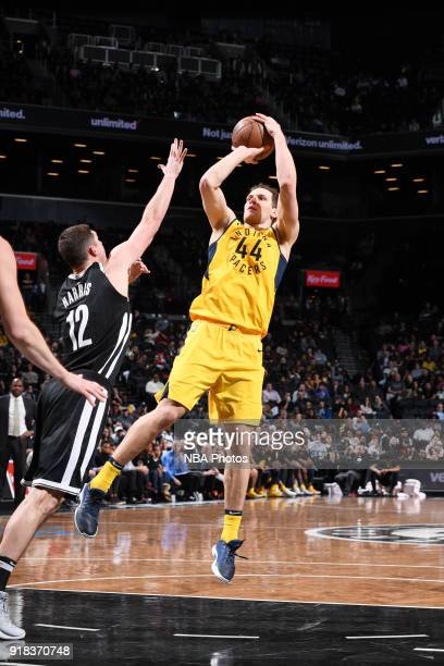 Bojan Bogdanovic of the Indiana Pacers shoots the ball during the game against the Brooklyn Nets on February 14 2018 at Barclays Center in Brooklyn...