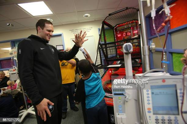 Bojan Bogdanovic of the Indiana Pacers visit Peyton Manning Childrens Hospital at St Vincent as part of Pacers Cares and the NBA Cares Season of...