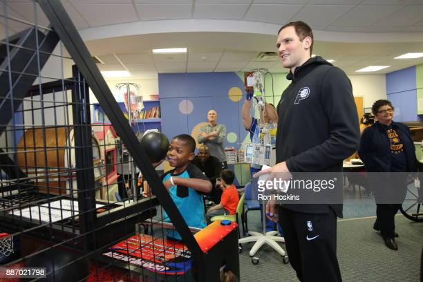 Bojan Bogdanovic of the Indiana Pacers visits Peyton Manning Childrens Hospital at St Vincent as part of Pacers Cares and the NBA Cares Season of...