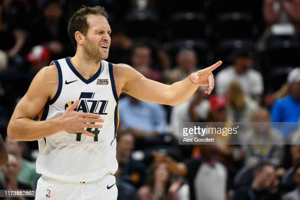 Bojan Bogdanovic of the Utah Jazz celebrates a play during a game against the Adelaide 36ers at Vivint Smart Home Arena on October 5 2019 in Salt...
