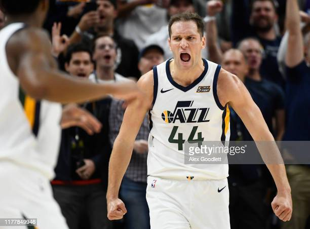 Bojan Bogdanovic of the Utah Jazz celebrates a play during an opening night game against the Oklahoma City Thunder at Vivint Smart Home Arena on...