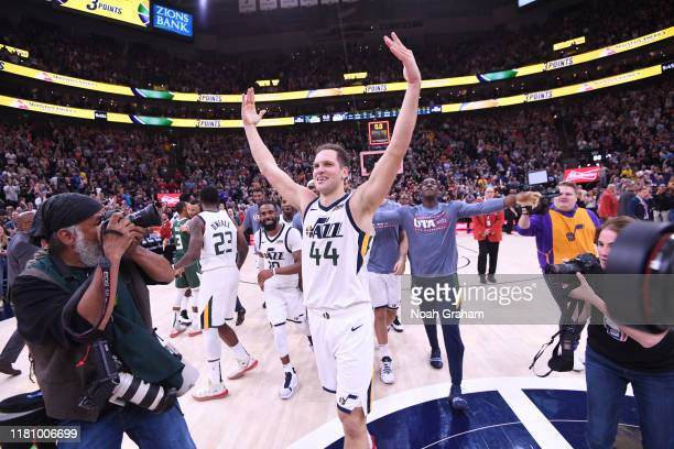 Bojan Bogdanovic of the Utah Jazz celebrates after a game against the Milwaukee Bucks on November 8 2019 at Vivint Smart Home Arena in Salt Lake City...