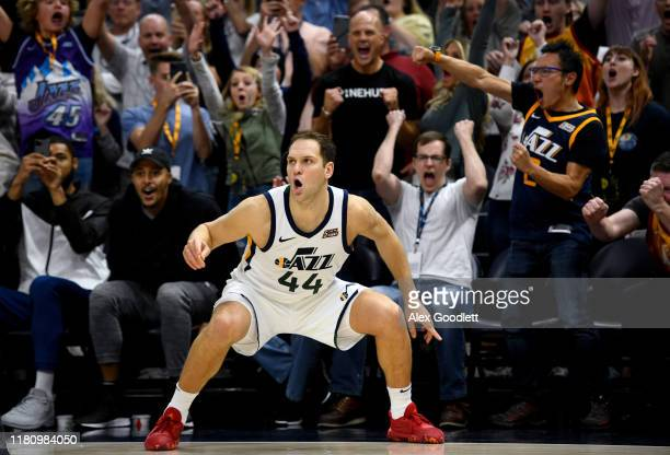 Bojan Bogdanovic of the Utah Jazz celebrates after hitting a game winning shot against the Milwaukee Bucks at Vivint Smart Home Arena on November 8...